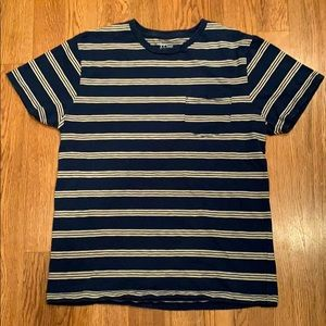 BLUE JCREW SHIRT WITH WHITE LINES